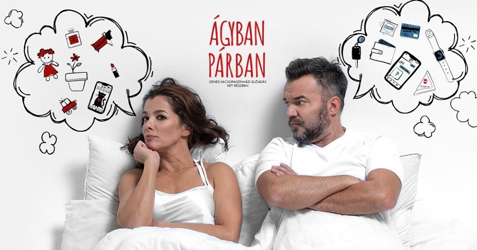 Parti Nóra és Hevér Gábor az Ágyban párban főszereplői (Fotó: Facebook/Orfeum)