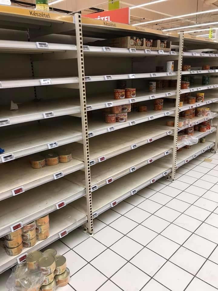 Üres konzerves polcok az Auchanban (Kollégánk felvétele)