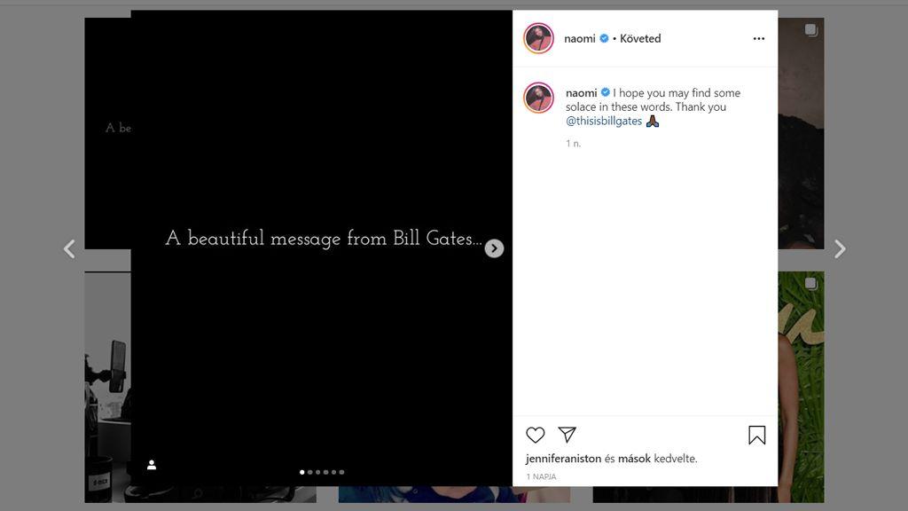 Naomi Campbell is megosztotta a kamulevelet, posztját Jennifer Anitston is lájkolta. (Fotó: Instagram/naomi)
