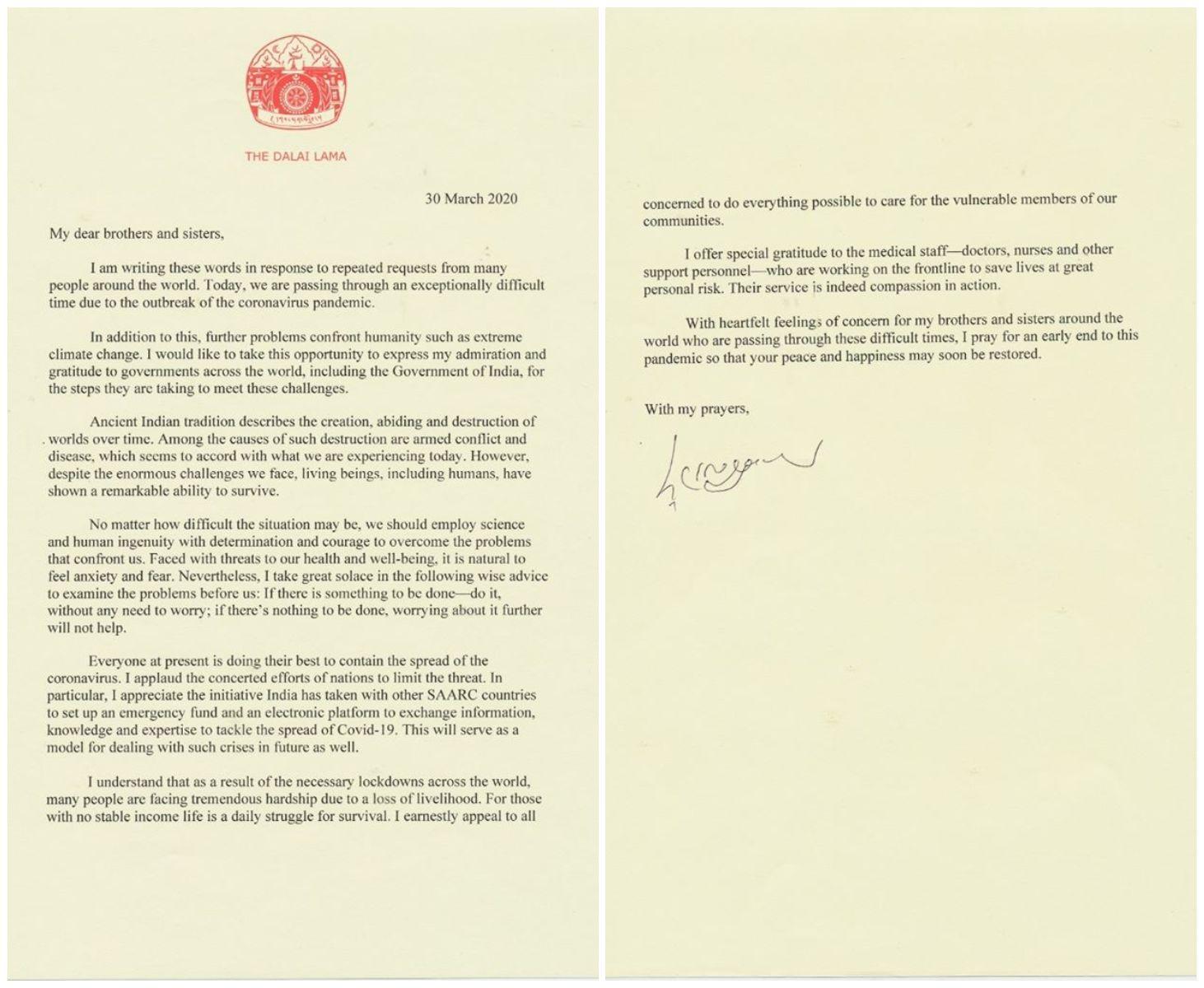 A Dalai Láma levele a világhoz 2020. március 30-án (Facebook)