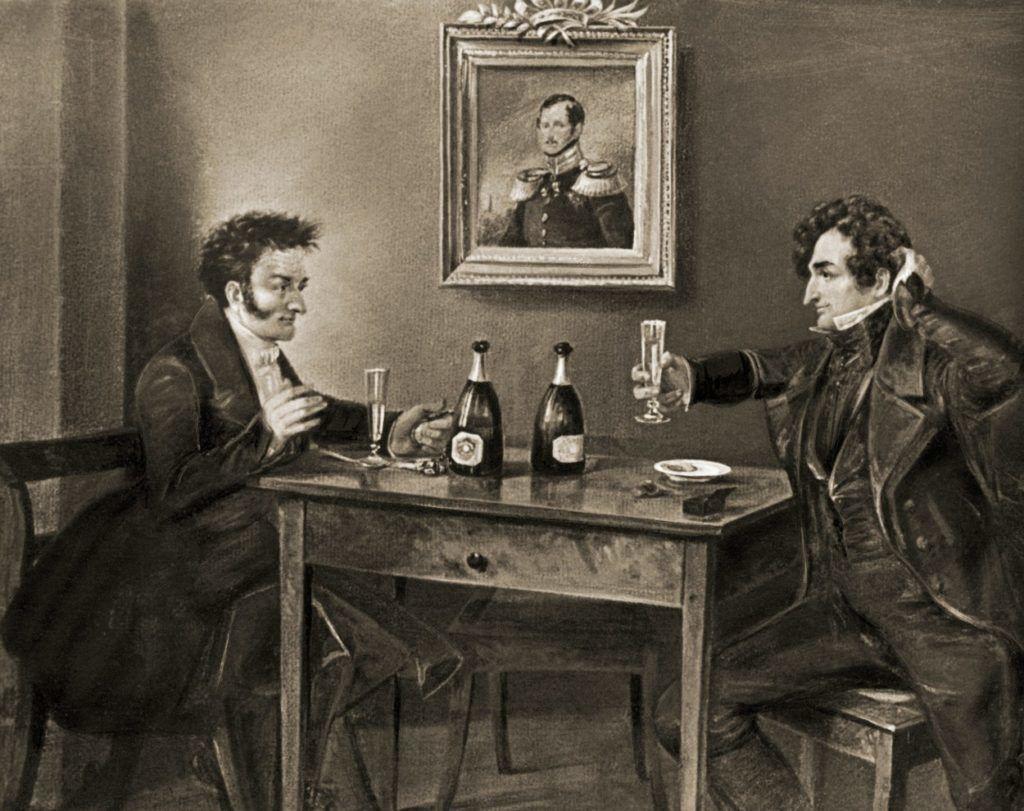 E. T. A. Hoffmann és Ludwig Devrient színész a Lutter und Wegner borházban, Karl Themann festményén (Fotó: akg-images / AKG / Profimedia)