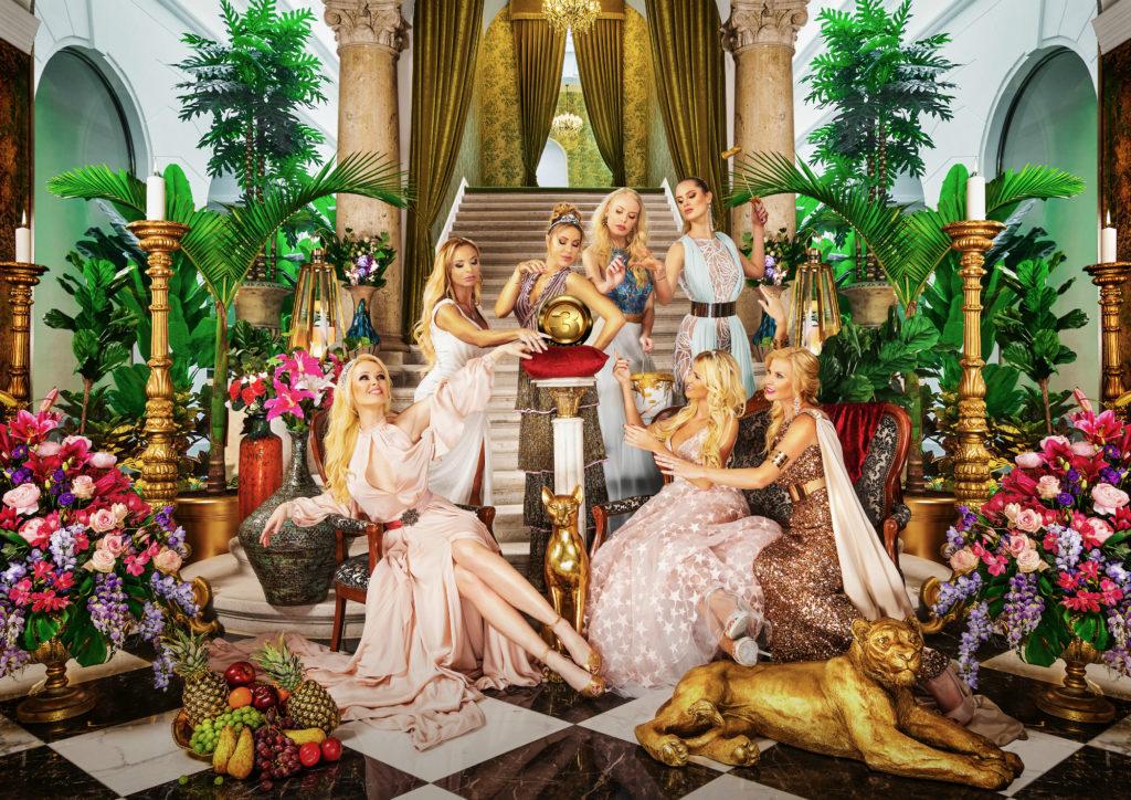 Feleségek luxuskivitelben szereplői: Köllő Babett, Polgár Tünde, Yvonne Dederick, Csősz Bogi, Nagy Noémi, Molnár Nikoletta és Vasvári Vivien ((Fotó: VIASAT3/Feleségek luxuskivitelben)