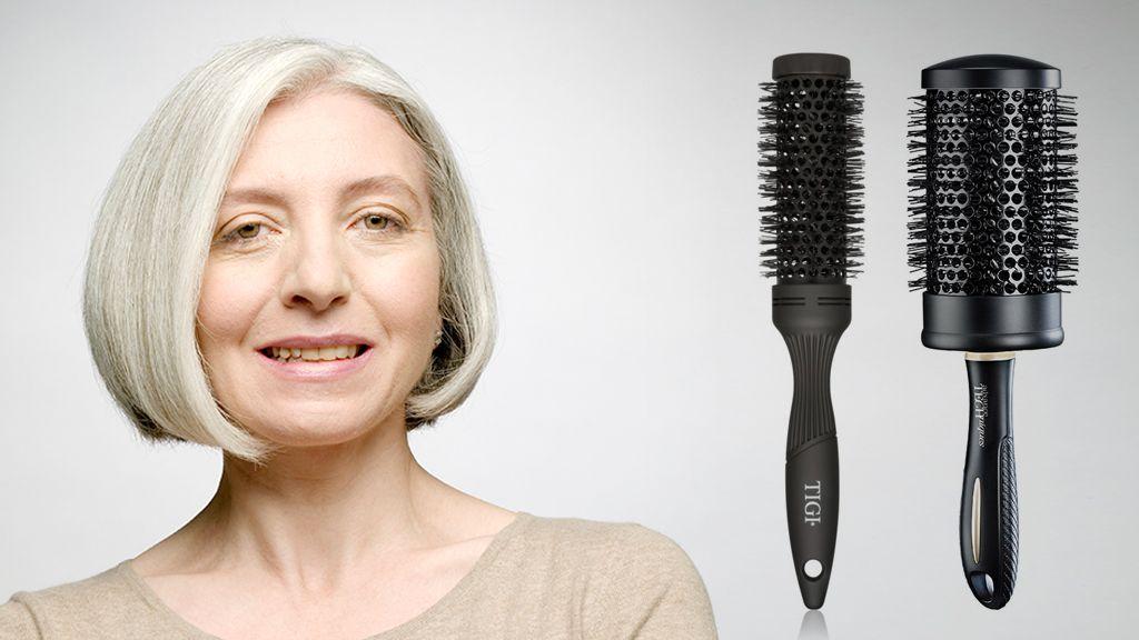 A bubi frizura beszárításához érdemes körkefét használni. (Illusztráció: Louis Fox/Getty Images, Közepes körkefe: Tigi/Notino, Nagy körkefe: Avon)