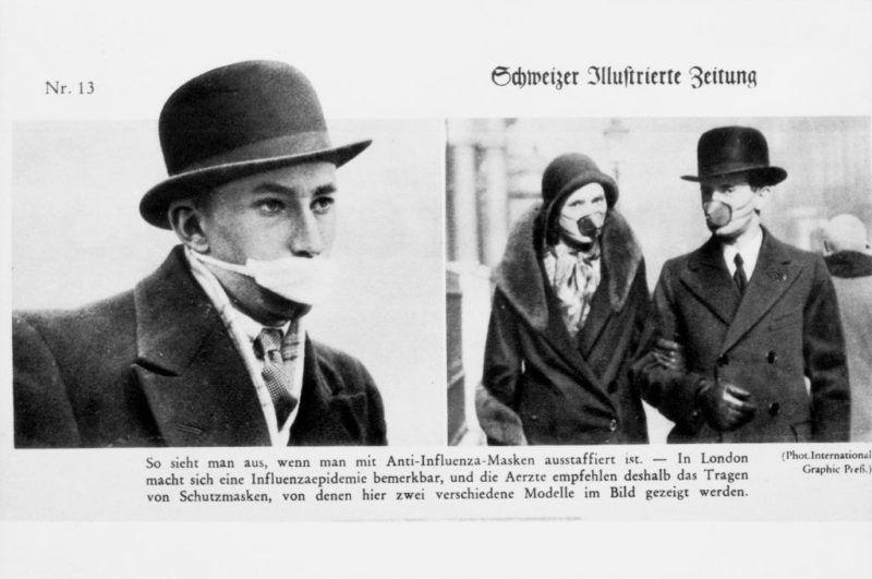 Schutzmasken gegen Spanische Grippe in Grossbritannien 1918 (Photo by RDB/ullstein bild via Getty Images)