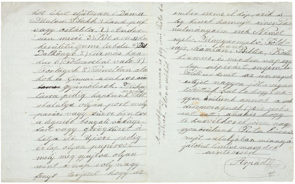 ifj. Horvát Árpád 1864. február 24-én írt levelének részlete (Forrás: OSzK Kézirattára)
