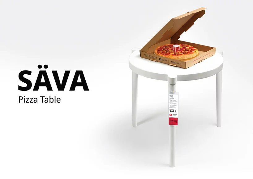 Így fest a pizzaasztal, az IKEA és a Pizza Hut szerelemgyereke (Fotó: Designboom)