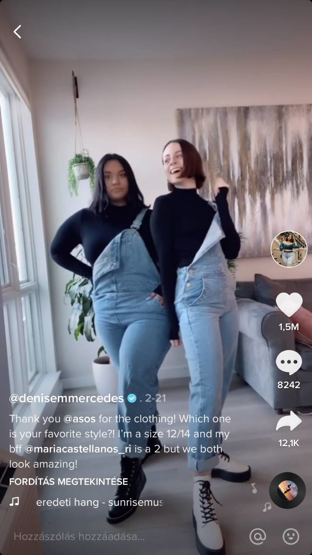 Telt és vékony lányok egyforma ruhában