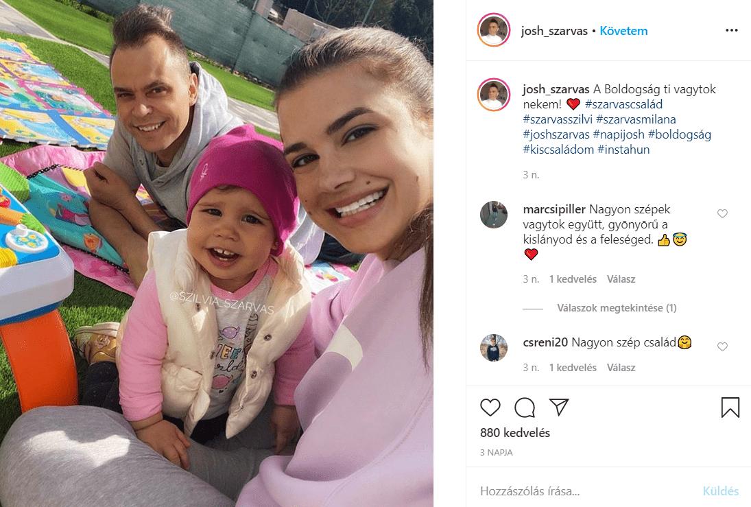 Josh és szerelme, Szilvi, valamint a lányuk, Milana