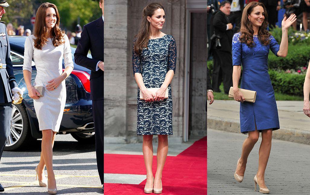 Miután hercegné lett, Katalin az első években gyakran viselt test vonalát követő, elegáns ruhákat.