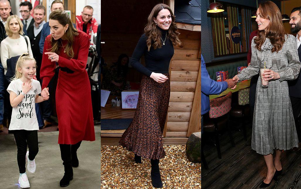 Az elmúlt hetek termése: mindhárom fotón Zara ruhában látható a hercegné. (Fotók: Rowan Griffiths - WPA Pool/ Getty Images, Geoff Caddick - WPA POOL/Getty Images, Chris Jackson/Getty Images)