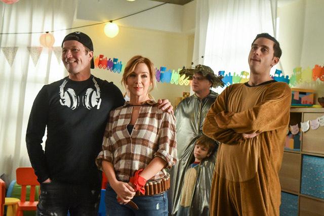 Kovács Patrícia a MintaapákbanStohl Andrással és Szabó Kimmel Tamással (Fotó: TV2)