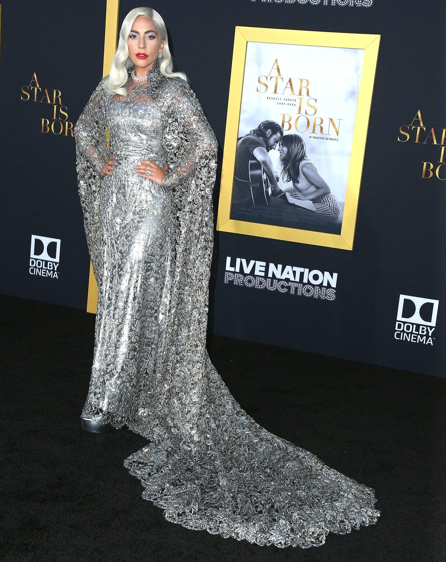 Lady Gaga a Csillag születik 2018-as Los Angeles-i premierjén.