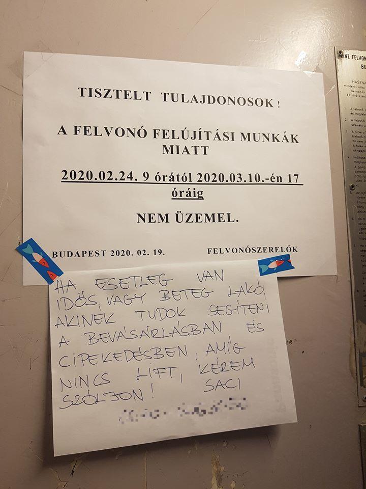 Szívmelengető üzenetben ajánlotta fel a segítségét egy lakó (Fotó: Facebook/Pesten hallotam)