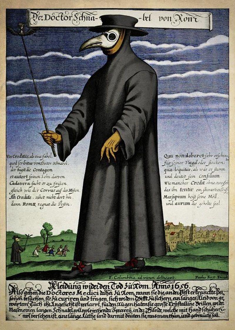 Talán a legismertebb pestisdoktor-ábrázolás a 18. századból (forrás: Wikipedia)