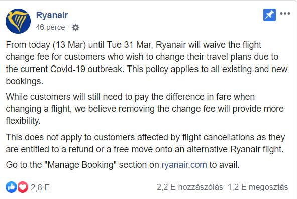 A Ryanair lemond a járatmódosítás díjáról