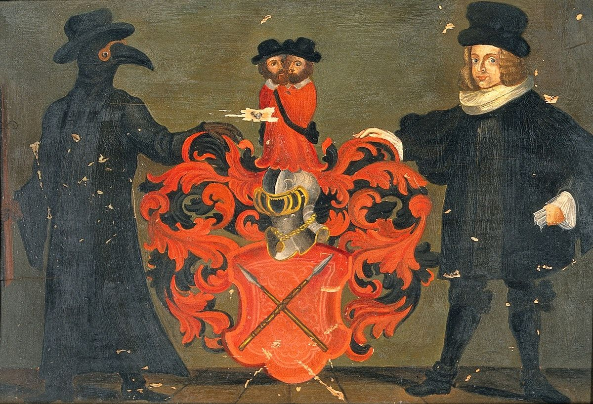 Theodore Zwinger pestisdoktorral feldobott címere (forrás: Wikipedia)