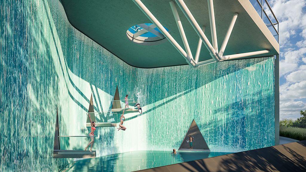 A 4 méter mély medence különböző ugrómagasságokkal. A fölötte kialakított áttetsző aljú medencébe alulról is be lehet látni.