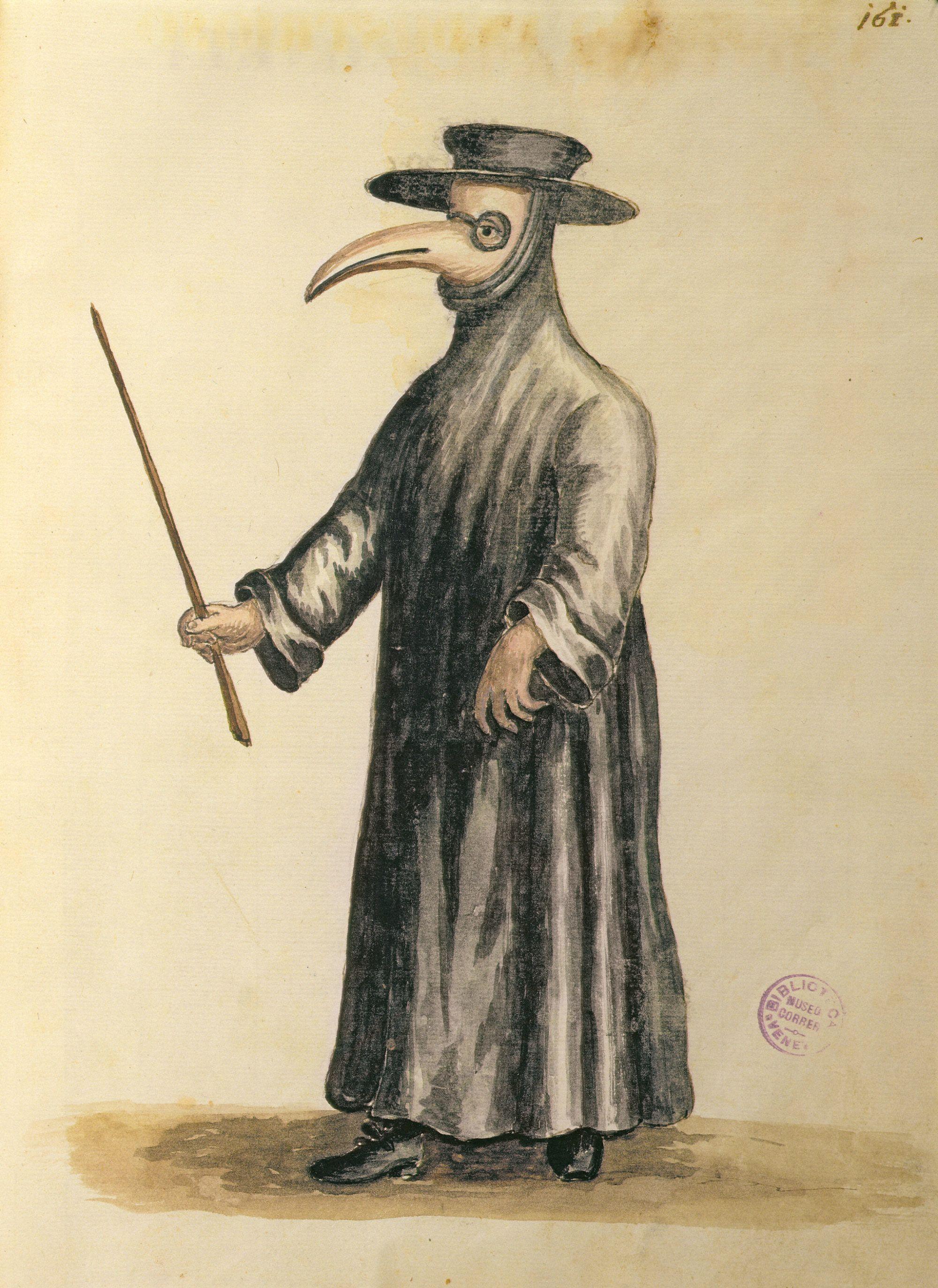 Egy némileg barátságosabb külsejű velencei pestisdoktor (forrás: Wikipedia)