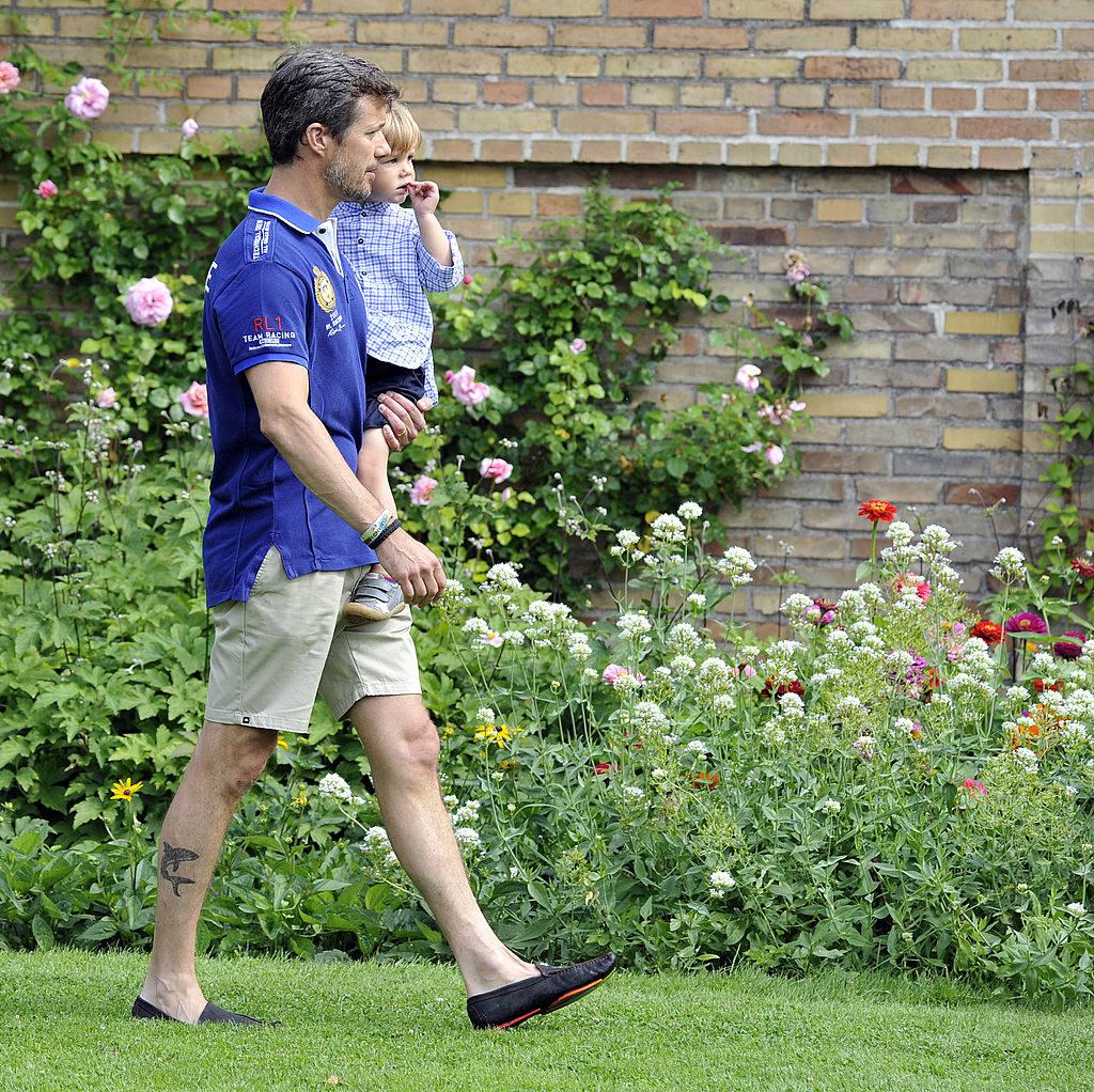 GRASTEN, DENMARK - JULY 26: Crown Prince Frederik of Denmark (L) and Prince Vincent of Denmark attend the annual Summer photocall for the Royal Danish family at Grasten Castle on July 26, 2013 in Grasten, Denmark. (Photo by Tim Riediger/WireImage)