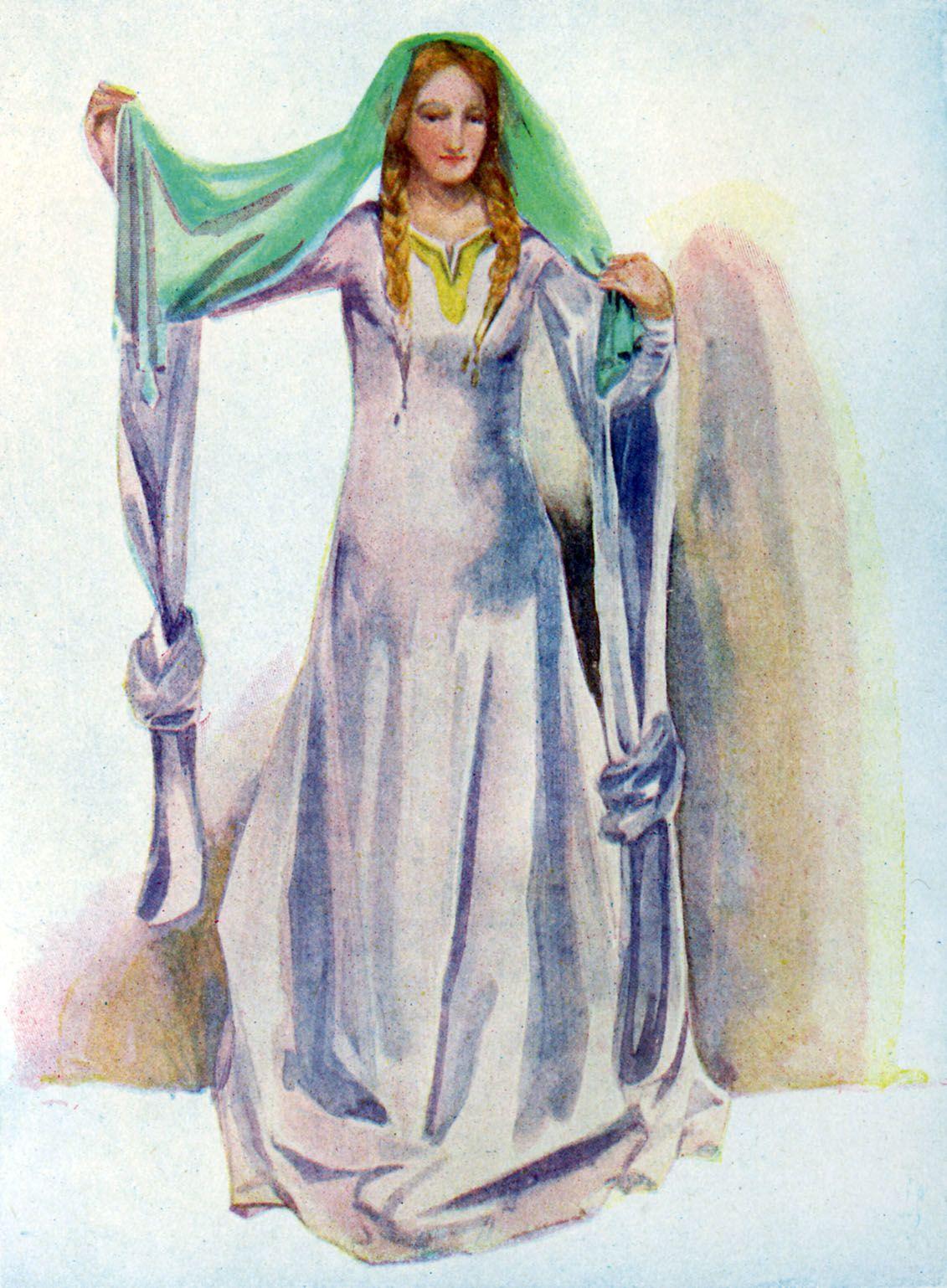 12. századi bliaut ruha, Dion Clayton Calthrop rajza 1907-ből.