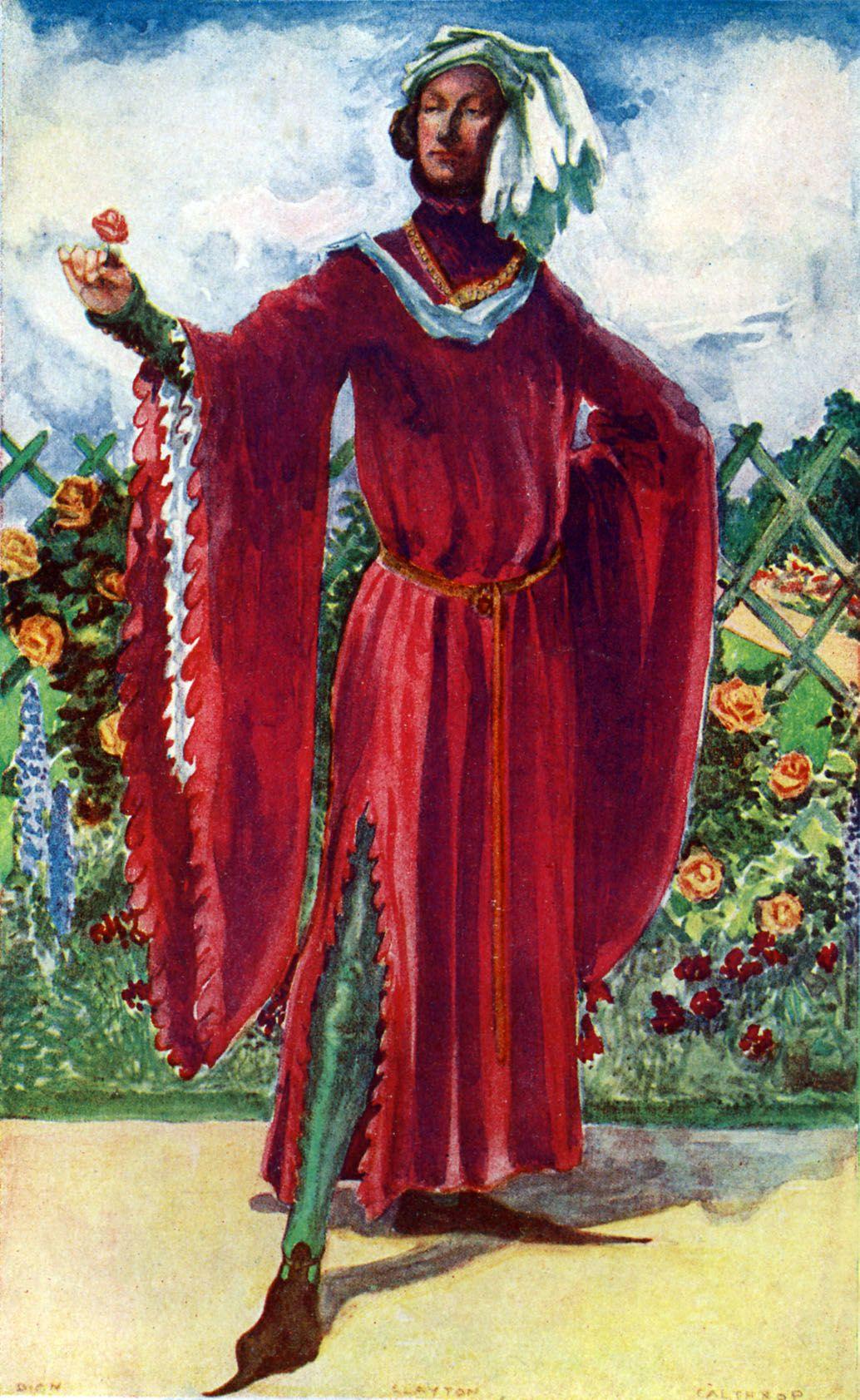 14. századi férfi viselet rajza, melyet Dion Clayton Calthrop készített.