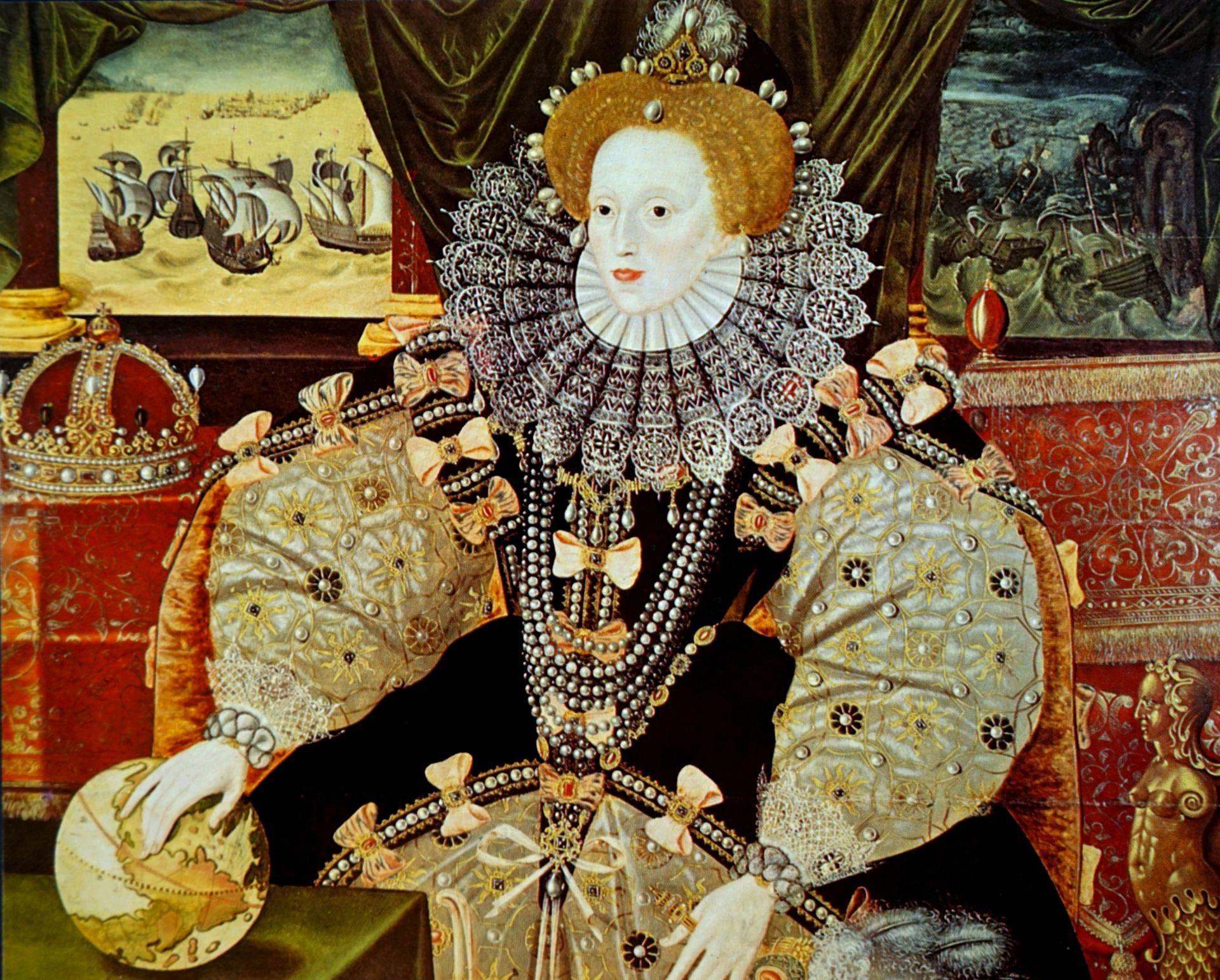 I. Erzsébet királynő portréja, melyen jól látható, mekkora divatja volt a ruhák tömésekkel való alakításának.