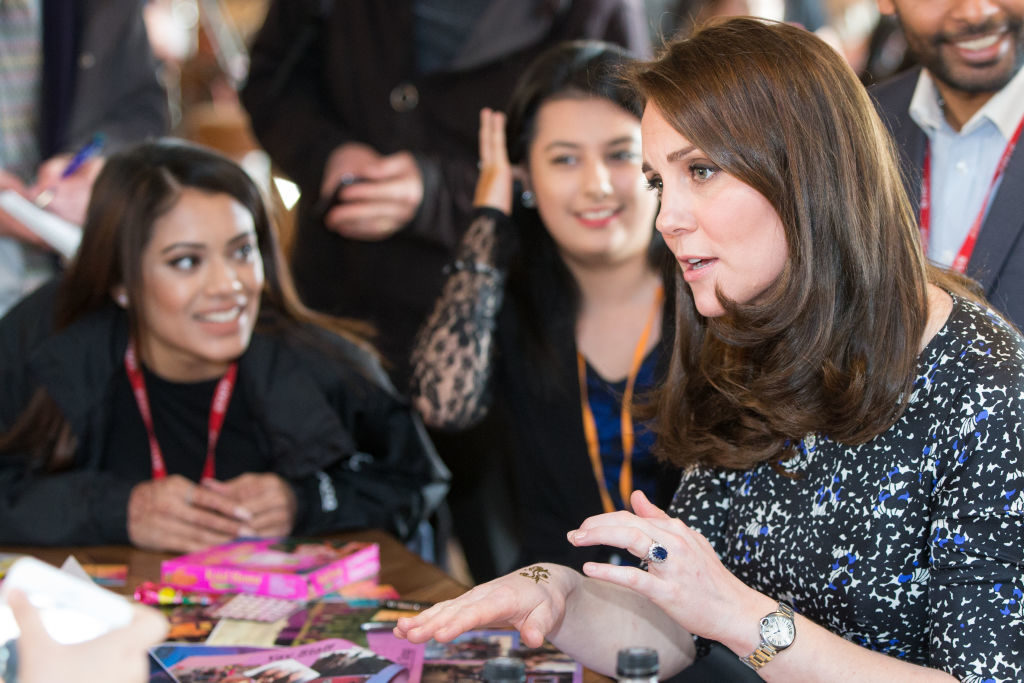 SUNDERLAND, ENGLAND - FEBRUARY 21: Catherine, Duchess of Cambridge gets a henna tattoo during a visit to The Fire Station, one of Sunderland's most iconic buildings, recently converted into a music and arts hub on February 21, 2018 in Sunderland, England. (Photo by Andy Commins - WPA Pool/Getty Images)