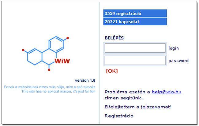 A wiw eredeti nyitó oldala