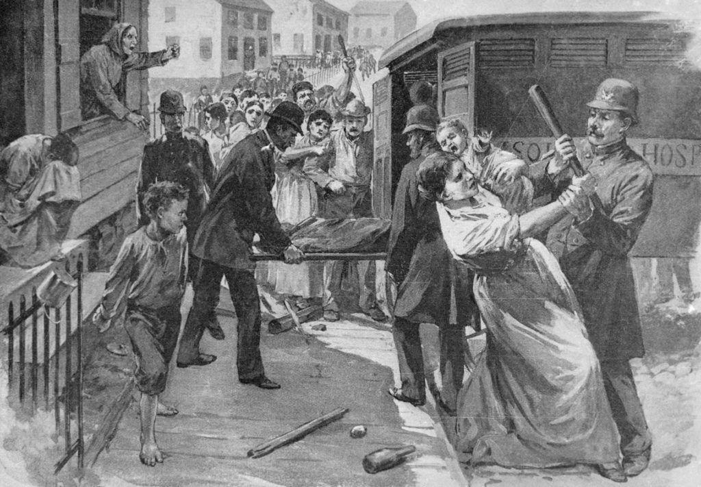 Bevándorlók próbálják megakadályozni a feketehimlős családtagjaik karanténba szállítását, az Egyesült Államokbeli Milwaukeeban, 1885. - G.A. Davis rajza (Fotó: Getty Images)