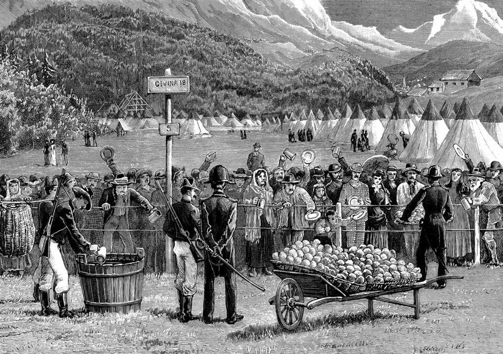 Kolera járvány Európában. 5 napos karanténban várakoznak svájci állampolgárok az olasz határon, Bardonnechiában, 1884. (Fotó: Photo12/Universal Images Group via Getty Images)