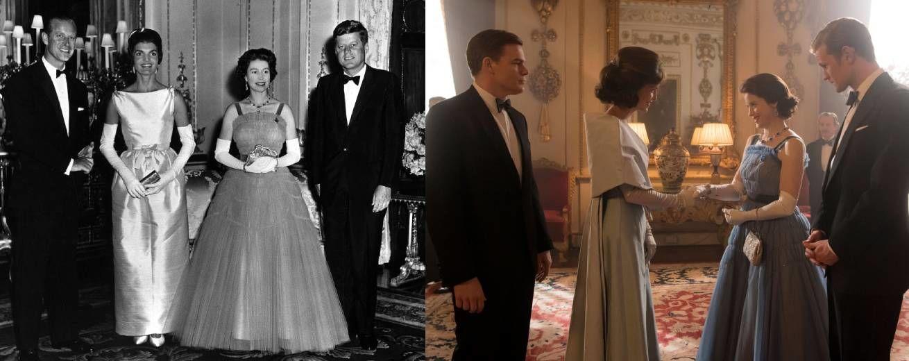A Kennedy házaspár látogatása II. Erzsébetnél a sorozatban és a valóságban