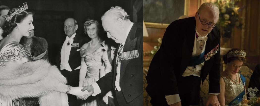 Winston Churchill és II. Erzsébet 1950-ben, valamint a sorozatban