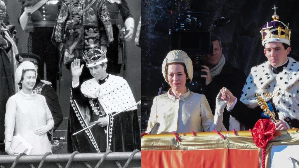 Károly herceg 21. születésnapja, és ugyanez a jelenet a The Crown sorozatban