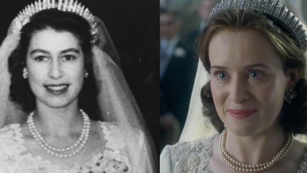 II. Erzsébet a The Crown sorozatban és a valóságban az esküvőjén