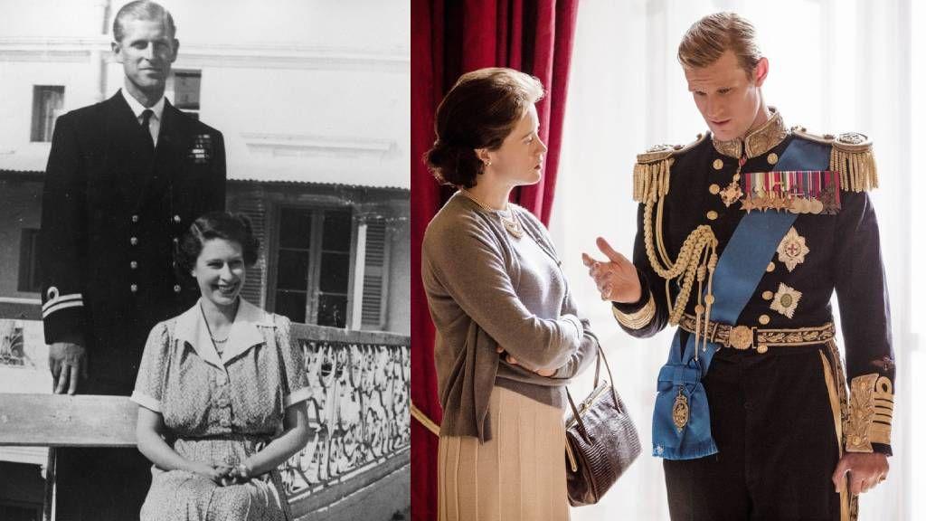 Az ifjú II. Erzsébet és Fülöp herceg az életben és a sorozatban