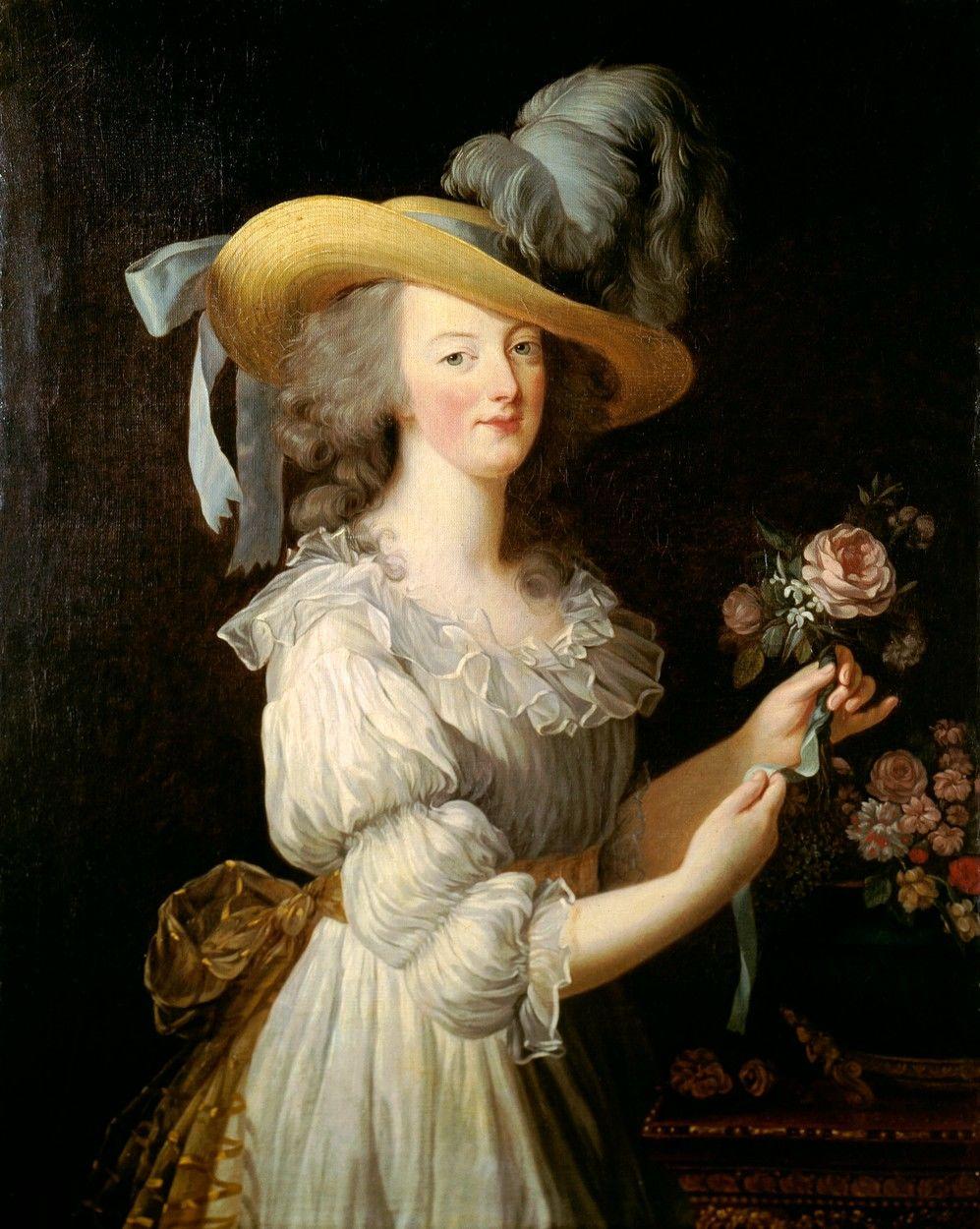 Marie Antoinette híres, muszlinruhás portréja, melyet 1783-ban Élisabeth-Louise Vigée-Lebrun készített róla.