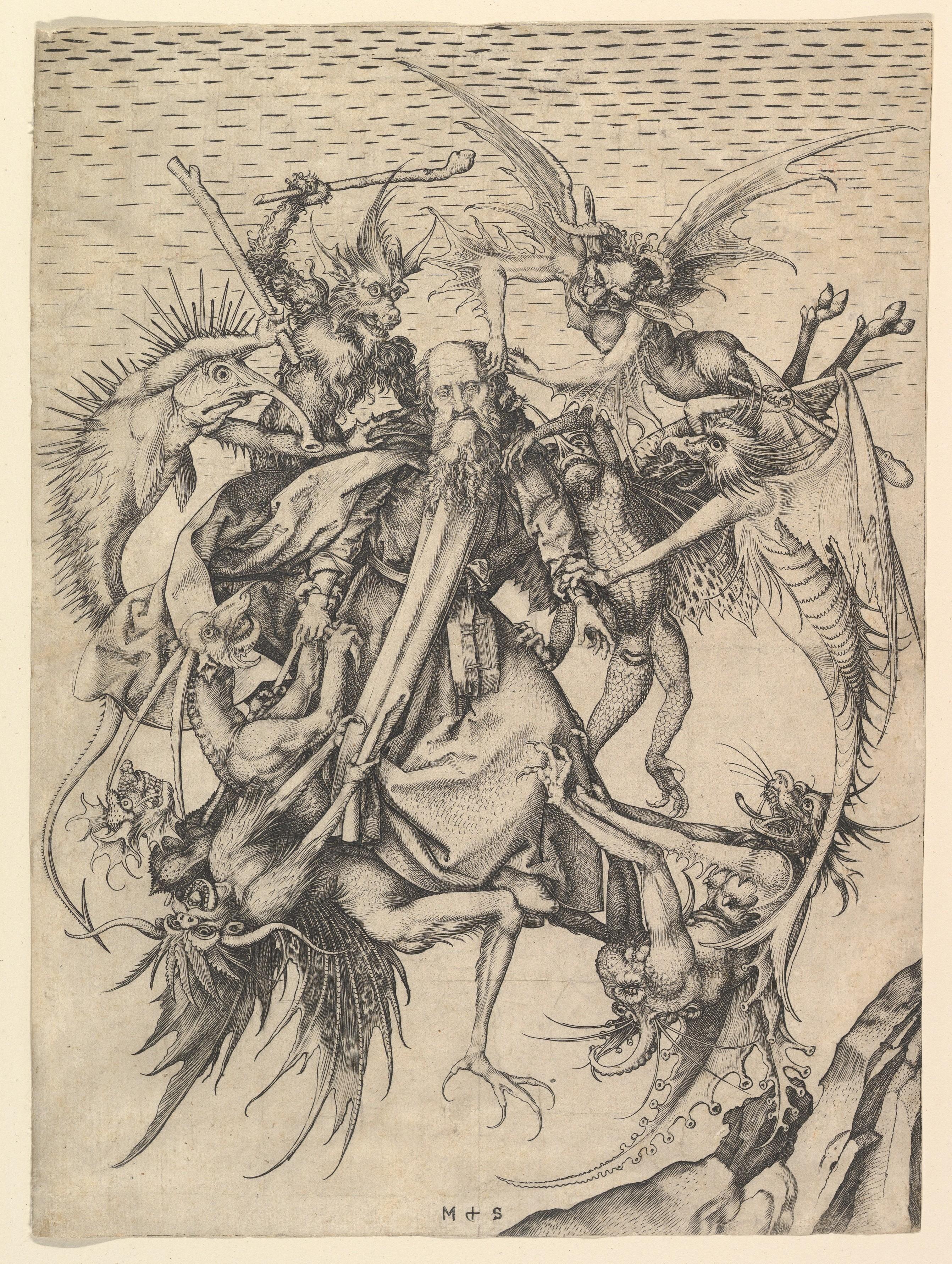 Szent Antal megkísértése Martin Schongauer metszetén (forrás: Wikipedia)