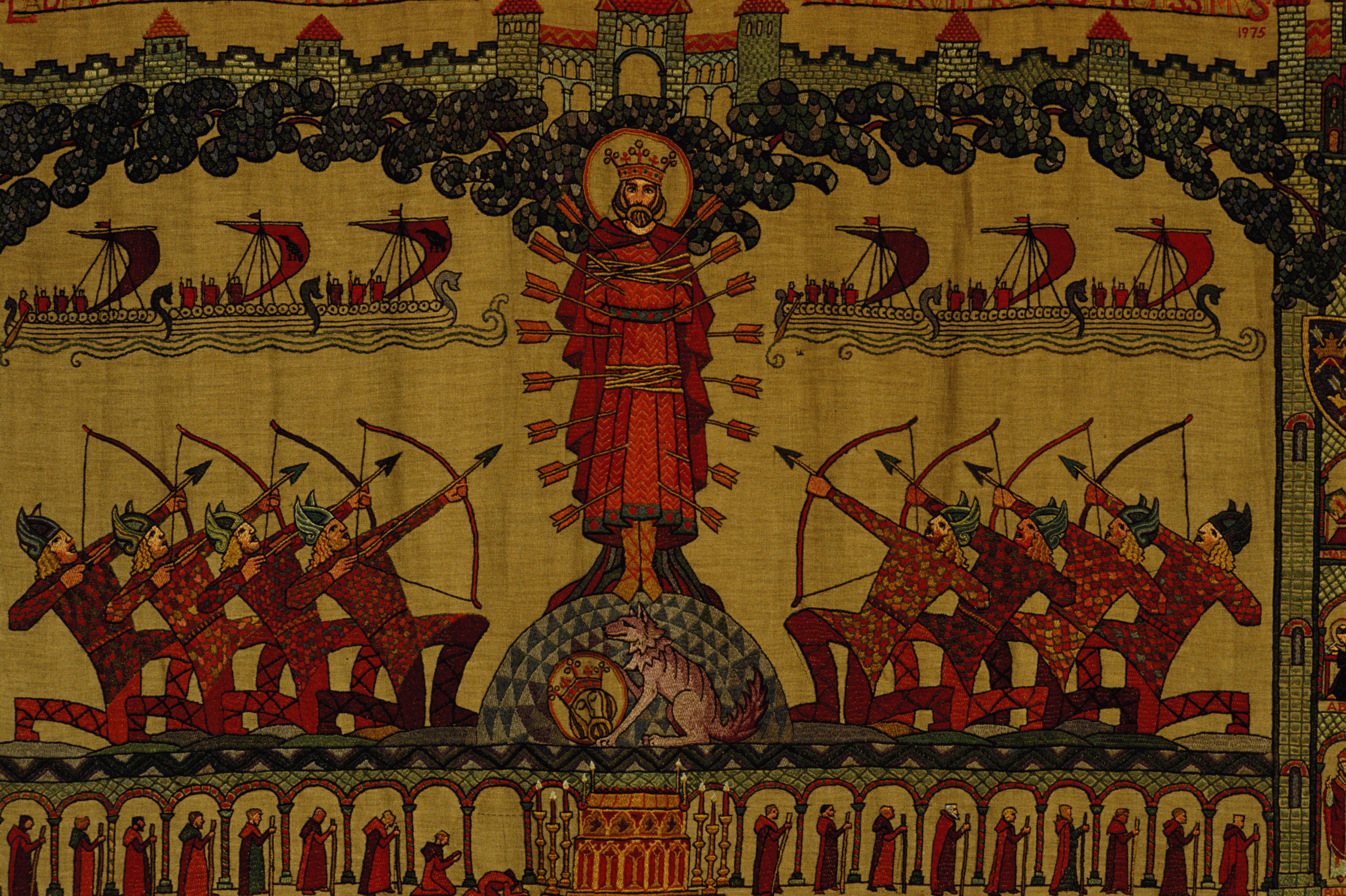 Vértanú Szent Edmund halála egy szőttesen ábrázolba (fotó: RDImages/Epics/Getty Images)