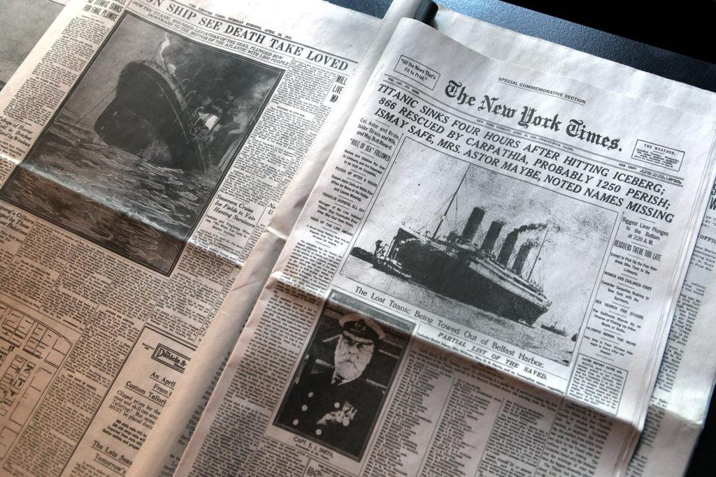 A New York Times címlapja 1912. április 15-én (Fotó: John Moore/Getty Images)