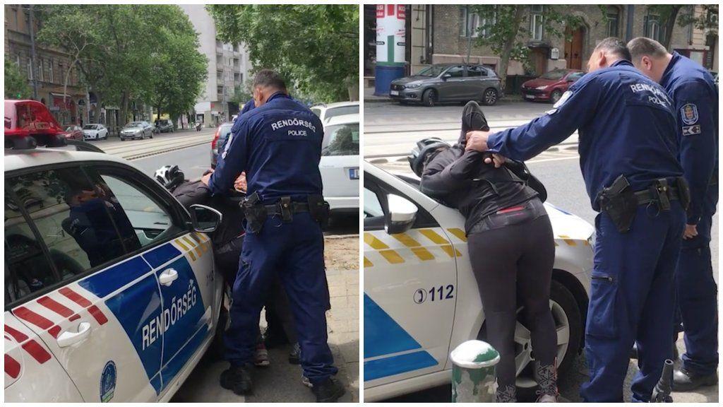 biciklis nő rendőri intézkedés