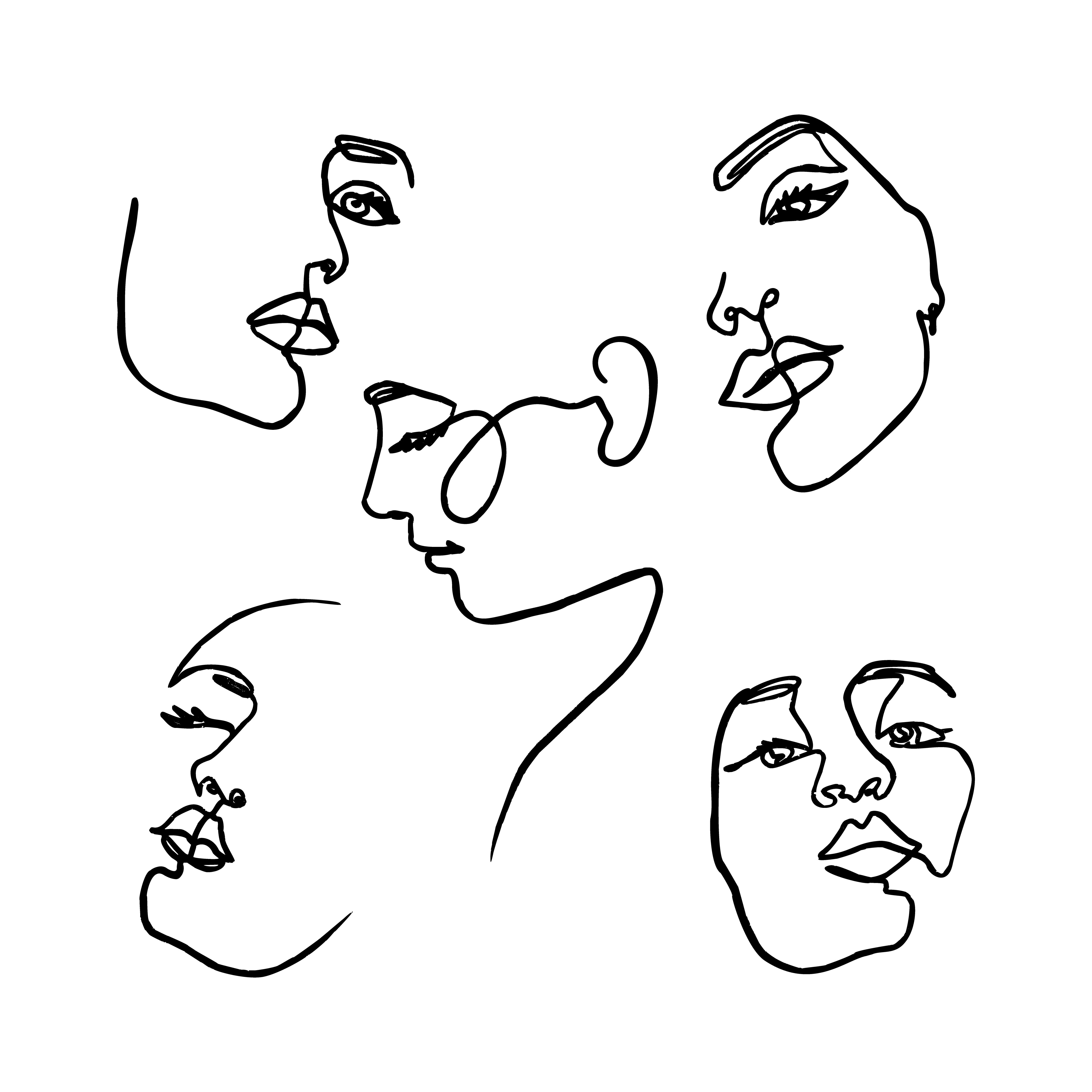 Ezek a női arc minták is jól mutatnának egy pólón.