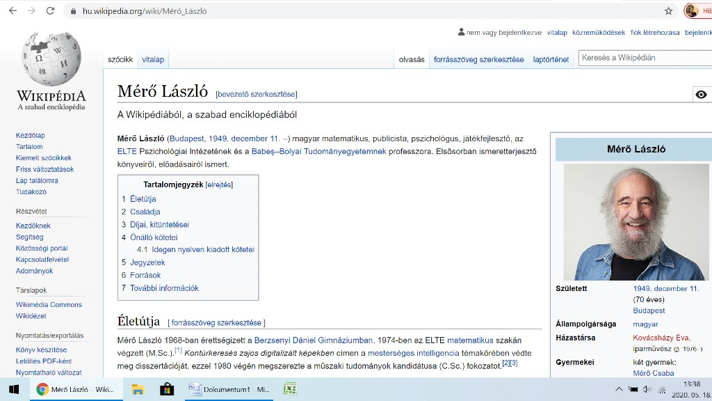 Mérő László Wikipédia oldala