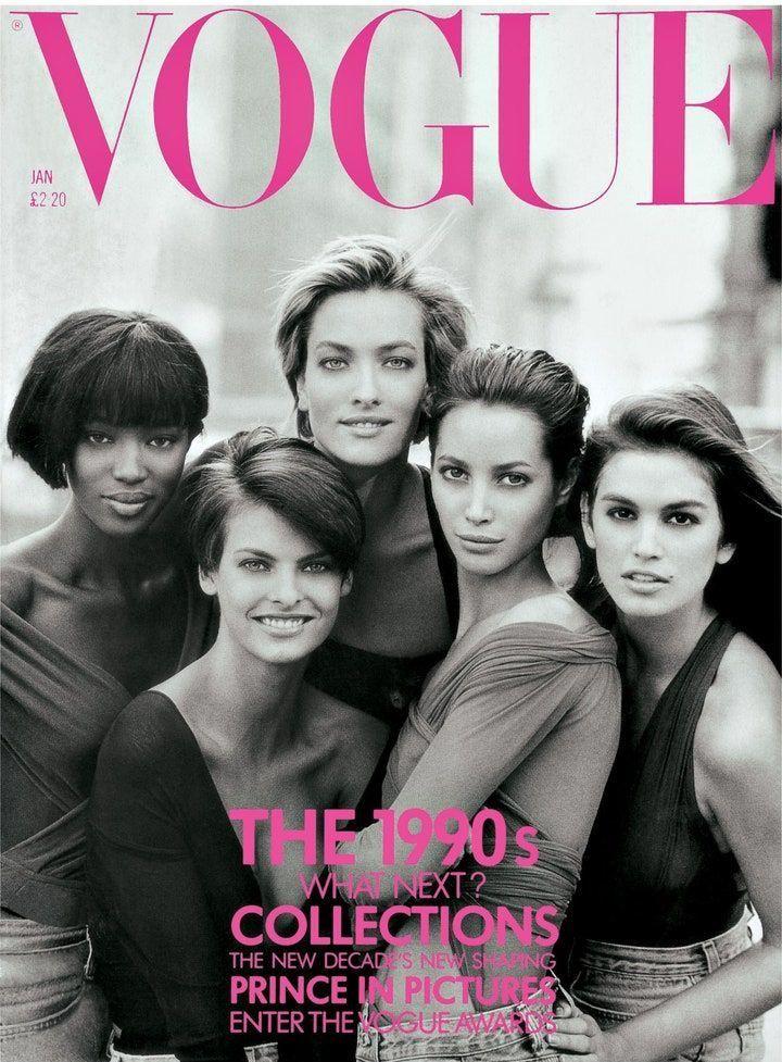 Naomi Campbell, Linda Evangelista, Tatjana Patitz, Christy Turlington és Cindy Crawford a brit Vogue 1990 januári címlapján