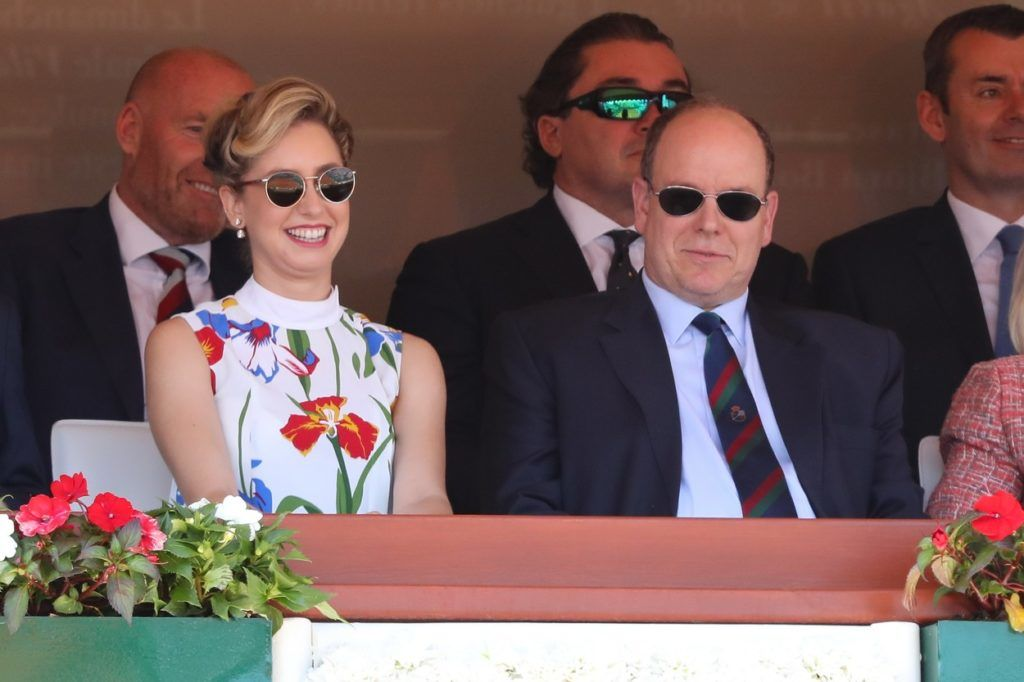 Jazmin Grace Grimaldi és apja II. Albert monacói herceg egy teniszmeccsen, 2018-ban (Fotó: Olivier Huitel / Crystal Pictures / Crystal pictures / Profimedia)