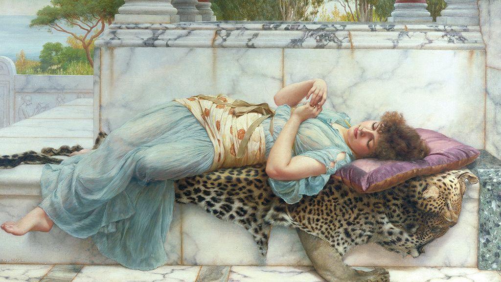 Festmény 1892-ből, melyen egy hölgy jegygyűrűjét nézegeti.