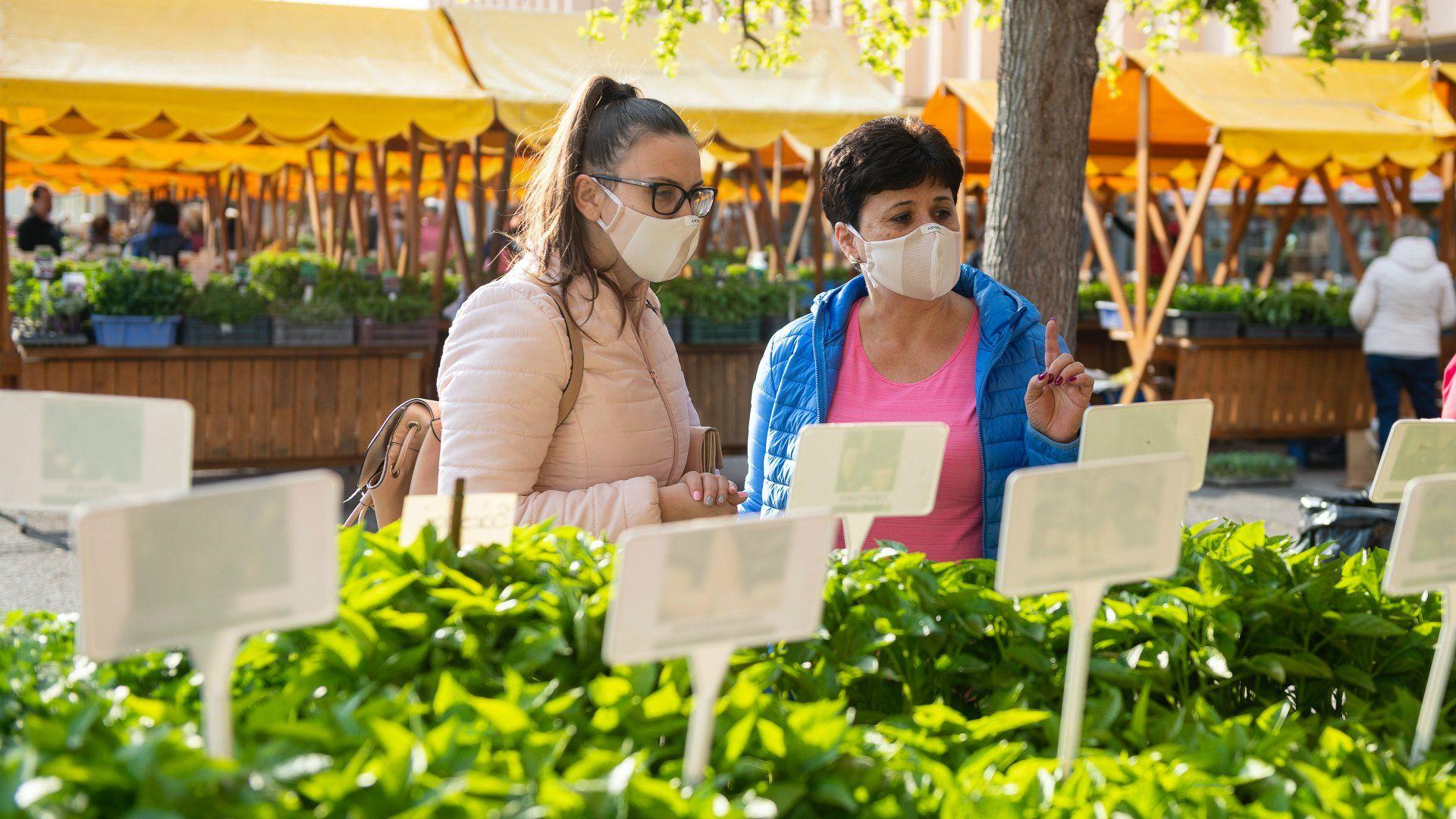 maszkos vásárlók a piacon