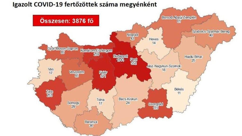 Jól látszik a megyei eloszlás