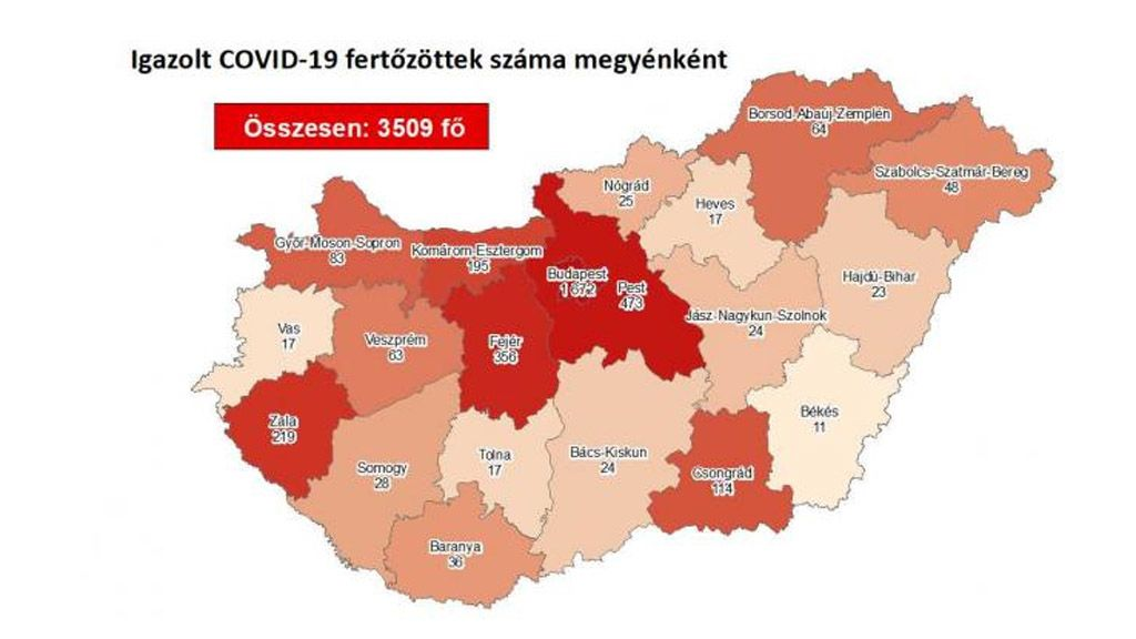 Koronavírusos esetek megyénként Magyarországon