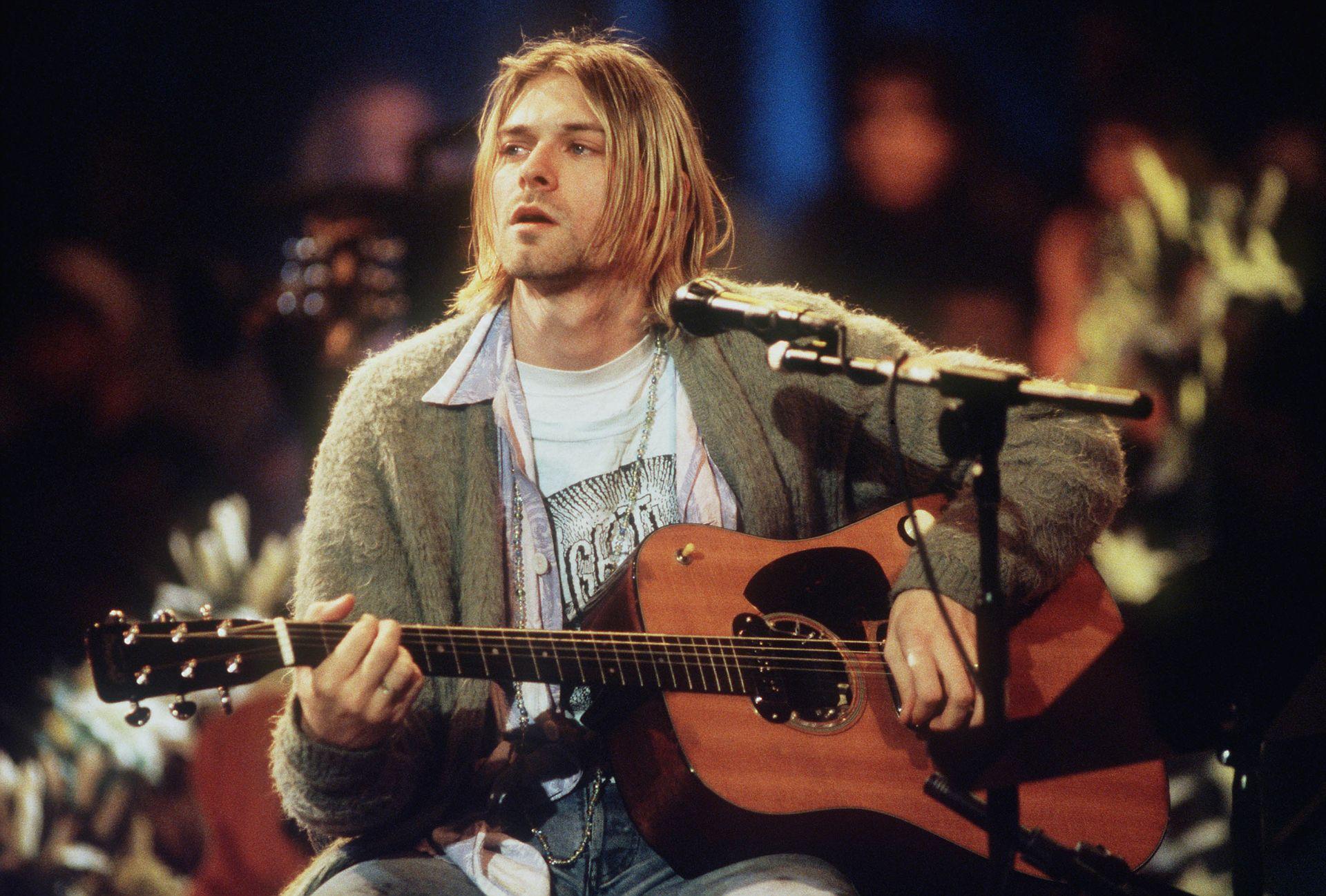 Kurt Cobain az MTV Unplugged felvételén 1993-ban.