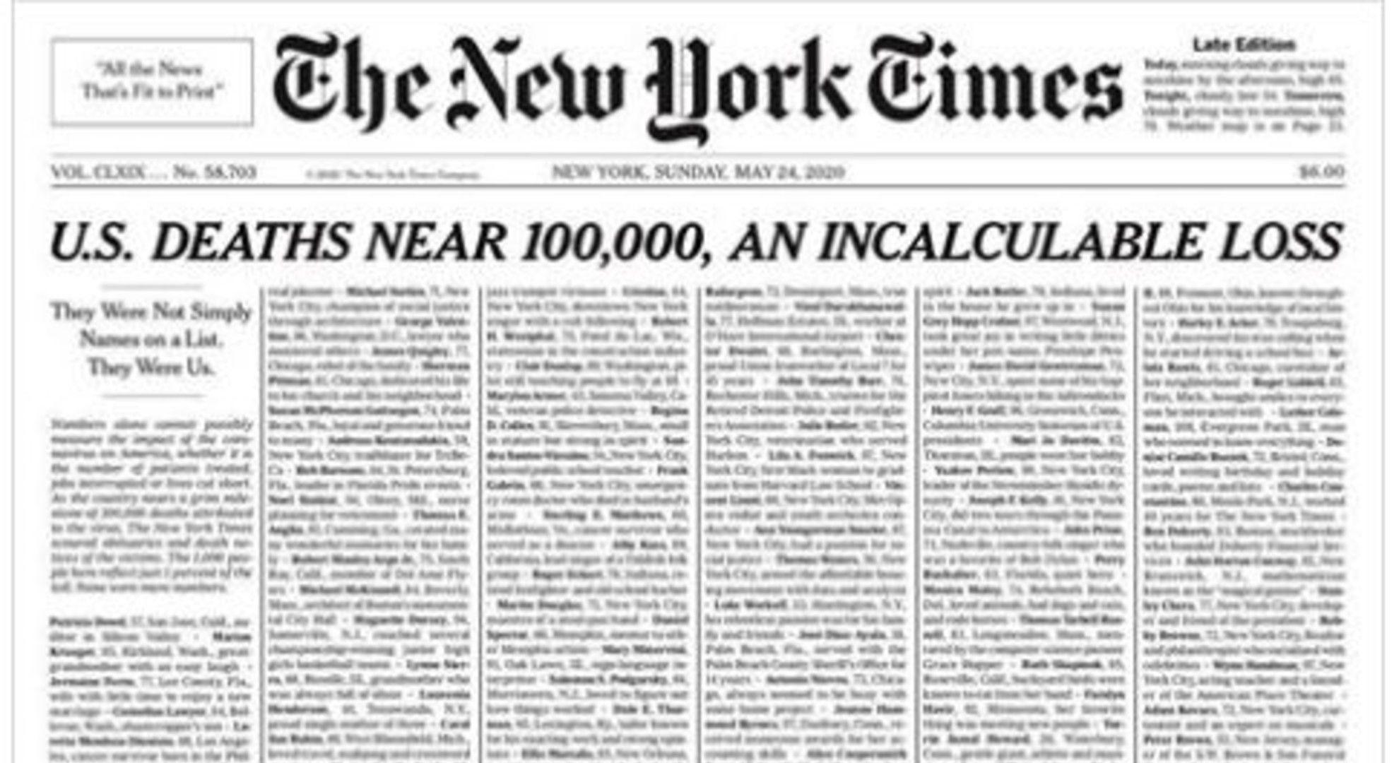 A New York Times címlapján a 100 ezer amerikai áldozat 1%-ának nevét tüntetik fel.